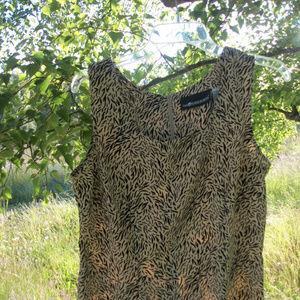 FUN SAG HARBOR BEIGE BLACK ANIMAL SHEATHE DRESS 12